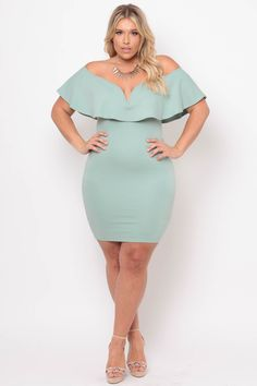 819669a25027 Plus Size Frill Bodycon Dress - Mint. Plus Size OutfitsPlus Size Womens  ClothingSize ...