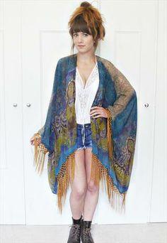 Tribal print chiffon fringe kimono jacket