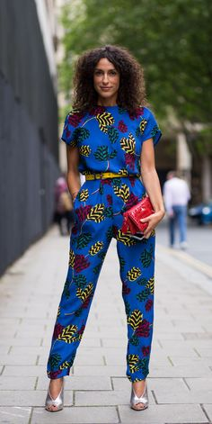 Colorful printed jumpsuit | Via http://theurbanspotter.com