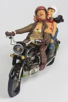 "Guillermo Forchino Exciting Motor Ride 1/2 Scale #GuillermoForchino #Art. When I meet the guys at the bar, they always tease me about my little beer belly.  ""Who are you going to seduce with that hippopotamus stomach say the jokers. ""You and your bike are definitely losers"" and they laugh like hyenas. They could never have imagined Betty's excitement when I invited her to go for a ride. ""Antique bikes fascinate me"" she exclaimed when climbing on the back and hugging up close to me."