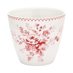 Abelone Raspberry Latte Cup : This Abelone Raspberry Latte Cup by Greengate has a classic, vintage pattern and colour print on a modern shape.