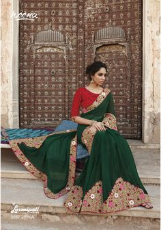 Green sari with floral thread embroidery Green poly georgette Comes with matching unstitched blouse Latest Indian Saree, Indian Sarees Online, Latest Sarees, Fancy Sarees, Party Wear Sarees, Indian Attire, Indian Wear, Indian Style, Indian Dresses