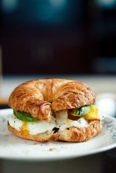 Poached eggs and avocado on croissant