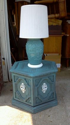 End table refinished painted teal aqua blue. Refurbished. Furniture ...