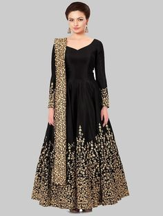 Sparky Black Anarkali Salwar Suit Women's Favorite Ethnic Wear Salwar Suit Style, Semi-Stitched Georgette Salwar Suit, Sari,Kurtis,Lehenga and many more