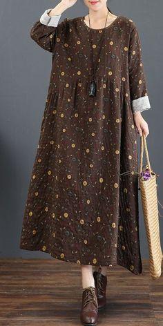 Cute Vintage Print Cotton Linen Maxi Dresses For Women 5219 – Mode für Frauen Backless Maxi Dresses, Linen Dresses, Maxi Dress With Sleeves, Women's Dresses, Casual Dresses, Dresses Online, Outfits Dress, Fashion Outfits, Womens Fashion