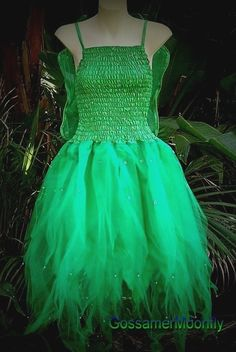 tinkerbell costumes for women | ADULT-WOMENS-Tinkerbell-Fairy-Fancy-Dress-Costume-Forest-Green-One ...