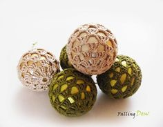 Christmas Ornament- Christmas Tree Decorations-Tree Ornament-Home Decorations,Crocheted Baubles For Christmas Tree on Etsy, £9.00