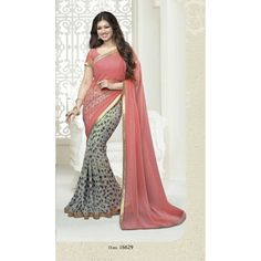Women s Clothing - Designer Party Wear Ayesha Takia Embroidered Georgette Bollywood Replica Pink & Grey Saree - 15195 ( ) - Ayesha Takia Bollywood Replica Pink & Grey Embroidered Work Designer Saree.Bollywood S Ethnic Wear Designer, Indian Designer Outfits, Indian Outfits, Grey Saree, Sari Design, Simple Sarees, Indian Sarees Online, Latest Designer Sarees, Casual Saree