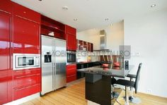 Modern Kitchen With Red Colored Kitchen Cabinets With Regard To Colored Kitchen Cabinets 5 Top Kitchen Cabinet Colors Trends 2016 Kitchen Cabinets Materials, Red Kitchen Cabinets, Kitchen Cabinets Pictures, Kitchen Cabinet Colors, Kitchen Colors, Kitchen Refrigerators, Kitchen Island, Kitchen Ware, Black Cabinets