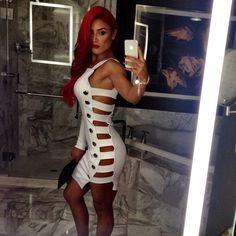 Eva Marie Looking Sexy in a White Dress
