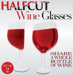 Halfcut Wine Glasses - Set of 2 - Share a Whole Bottle of Wine