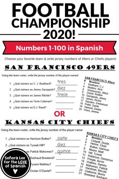 Need a fun idea for teaching Spanish numbers 1-100? Are you ready for some FOOTBALL? Not fútbol but fútbol americano! Talk about the Big Championship Game of 2020 with this highly engaging Spanish numbers activity for middle school or high school Spanish classes! Use pro football rosters to learn numbers in Spanish from 1-100. Identify popular football players by jersey numbers!   #spanishnumbers #spanishnumbers1-100 #spanishnumbersworksheet #spanishnumbersactivity #teachingspanishnumbers Spanish Teacher, Spanish Class, Teaching Spanish, Spanish Lesson Plans, Spanish Lessons, Spanish Activities, Class Activities, Spanish Numbers, Middle School Activities