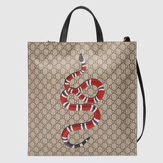 Snake print soft GG Supreme tote - Gucci Men's Totes 450950K5M1T8666