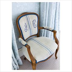 loving this monogrammed French linen chair!