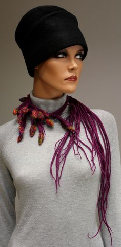 Regina Doseth - Rainbow Buds felted necklace-- dreads scarf to go with Urban Gypsy?