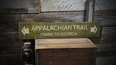 Appalachian Trail Maine to Georgia Wood Sign - Rustic Hand Made Vintage Wooden Sign ENS1000182 by TheLiztonSignShop on Etsy https://www.etsy.com/listing/184041460/appalachian-trail-maine-to-georgia-wood
