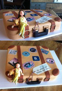 Pastel maleta con figura modelada en fondant                                                                                                                                                      Más