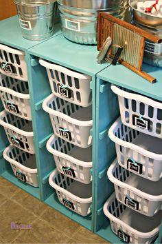 I think this would be a great idea for kindergarten storage... but use rubbermaid boxes with lids... enough room for napmats and backpacks and coats too.  :)  Just an idea.