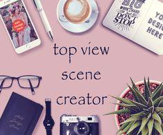 Custom mockup scene creator top view fashion mockup by Artistro