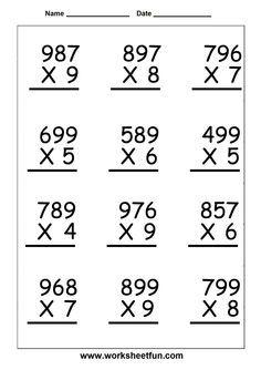 Fifth Grade Math Worksheets Multiplication Math Multiplication Worksheets, Math Practice Worksheets, Decimals Worksheets, Free Printable Math Worksheets, 3rd Grade Math Worksheets, Fifth Grade Math, Math Vocabulary, Worksheets For Kids, Grade 3