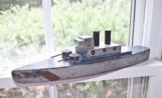 Antique War Battle Ship / Wooden US Gun boat with by ARTinBOXES, $145.00