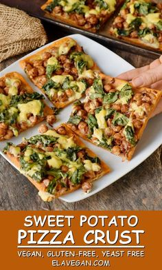 Sweet potato pizza crust recipe with only 5 ingredients. This is a healthy pizza… Sweet potato pizza crust recipe with only 5 ingredients. This is a healthy pizza crust which is gluten-free, vegan (dairy-free,. Whole Foods, Whole Food Recipes, Cooking Recipes, Sweet Potato Pizza Crust, Crust Pizza, Pizza Dough, Sweet Potato Flour, Sweet Potato Dinner, Pizza Hut