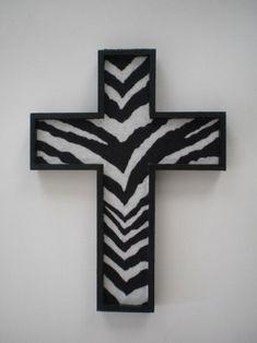 ZEBRA PRINT Wall Cross handpainted wood cross by LaurieBCreations, $9.00
