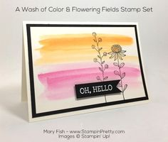 Simple hello card using Stampin' Up! Flowering Fields stamp set - designed by Mary Fish, Independent Stampin' Up! Demonstrator. Details, supply list and more card ideas on http://stampinpretty.com/2016/01/sale-a-bration-international-blog-hop.html