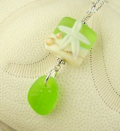 Genuine Rare Lime Green Sea Glass Necklace With Starfish Lampwork Bead by seaglassgems4you