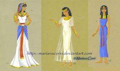 El vestido de las mujeres se mantuvo similar durante casi tres mil años, modificado sólo en algunos detalles.