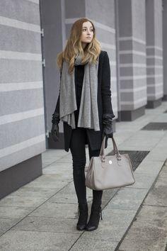 grey scarf, black coat, black leather gloves, black booties, grey tote