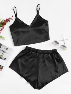 Solid Satin Crop Cami Top With ShortsFor Women-romwe Jolie Lingerie, Lingerie Outfits, Pretty Lingerie, Lingerie Set, Women Lingerie, Cute Pajama Sets, Cute Pjs, Cute Pajamas, Black Pajamas