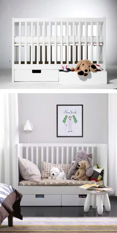 The STUVA crib converts to a toddler bed, making the transition from baby to big kid a smooth one for parent and baby.