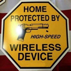 Cute sign for gun owners :) Home defense starts with a light hearted warning and ends with hollow points and firearms. Cute Signs, Funny Signs, Funny Memes, Dog Signs, Gun Quotes, By Any Means Necessary, Military Humor, Home Defense, Home Quotes And Sayings