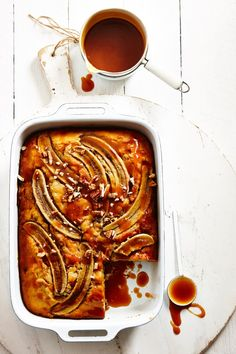 banana slab cake with coconut caramel sauce