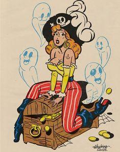 "Retro Style Halloween Pinup Prints by SvetaShubinaGallery ""x / x x / x x / x x / x x / x "" Vintage Cartoons, Vintage Comics, Vintage Art, Pin Up Cartoons, Vintage Pins, Cartoon Kunst, Comic Kunst, Cartoon Art, Halloween Art"