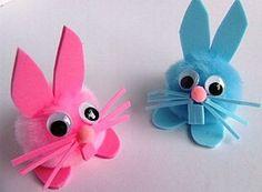 How to make pom pom Easter bunnies