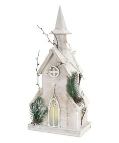 Another great find on #zulily! 18.75'' White Pre-Lit Wooden Church #zulilyfinds