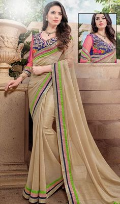 Dictate popular styles in no time dressed in this beige color georgette sari. The wonderful attire creates a dramatic canvas with fantastic lace work. Upon request we can make round front/back neck and short 6 inches sleeves regular saree blouse also. #DelighBeigeEmbroideredSaree