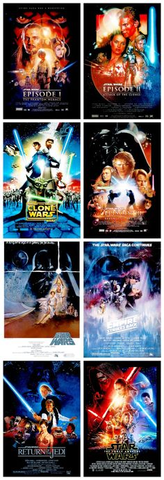 Posters for the Star Wars movies (in chronological order)
