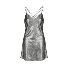 Metallic Slip Dress by Topshop Finds (220 RON) ❤ liked on Polyvore featuring dresses, silver, metallic green dress, retro dresses, plunging back dress, strappy dress and metallic dress