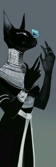 looks like Bastet, the Egyptian Cat Goddess Egyptian Mythology, Egyptian Art, Egyptian Anubis, Egyptian Symbols, Egyptian Drawings, Fantasy Kunst, Fantasy Art, Art Graphique, Gods And Goddesses