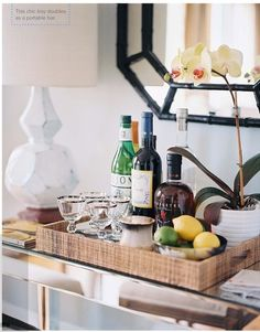 bar cart ideas - how to make a bar cart in a small space - My Style Vita @mystylevita