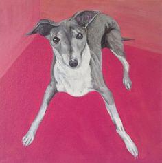 Italian greyhound art custom pet portrait painting on canvas oil and acrylic original from photo 12 x 12 dog IG