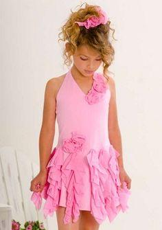 Kate Mack Summer Petals Pink Knit Halter Rose Ruffled Dress