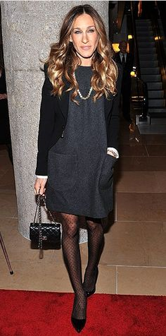 sarah jessica parker  - love a little shift dress- not too short and we could find more interesting - also instead of an opaque - trying out different interesting tights