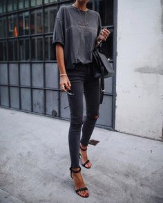 """7,115 Likes, 54 Comments - Andy Csinger (@andicsinger) on Instagram: """"Washed out black ✔️ // @levis jeans & #alexanderwang heels """""""