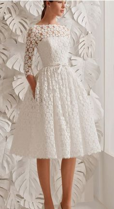 Kleidung white prom dress , sleeves lace prom dress , short prom dress , o neck evening gown , k Mermaid Evening Dresses, Evening Gowns, Wedding Dress Black, Knee Length Wedding Dresses, Lace Wedding, Cheap Gowns, Lace Dress With Sleeves, White Lace Dresses, Short Sleeves