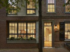 Exterior Windows Design Ideas, Pictures, Remodel, and Decor - page 3 Dark color of exterior windows with lights.  Also, the paneled shutters.
